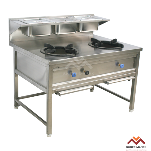 Shree Manek 2-BURNER GAS RANGE WITH GRAVY CONTAINERS